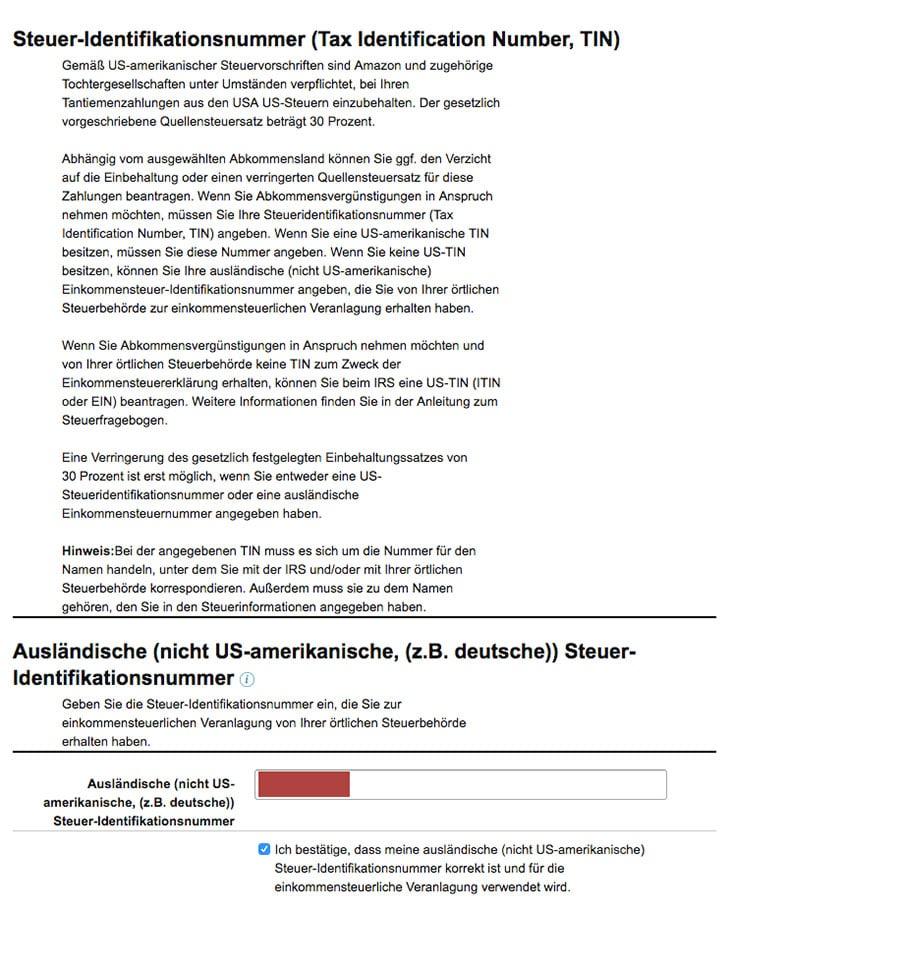 steuerfragebogen CteateSpace